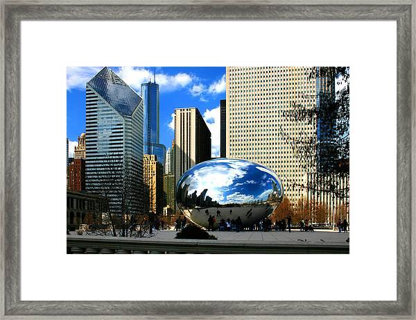 Chicago Skyline Bean Framed Print