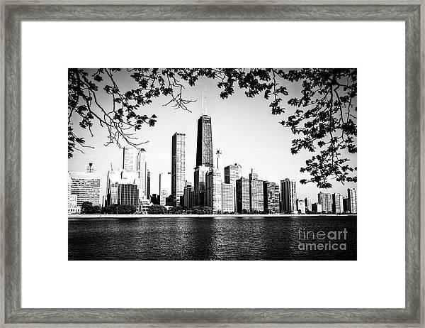 Chicago Skyline Black And White Picture Framed Print