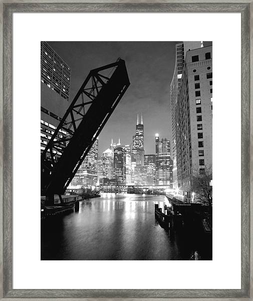 Chicago Skyline - Black And White Sears Tower Framed Print