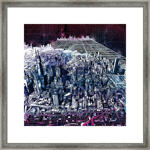 Chicago Skyline Black Verson Framed Print