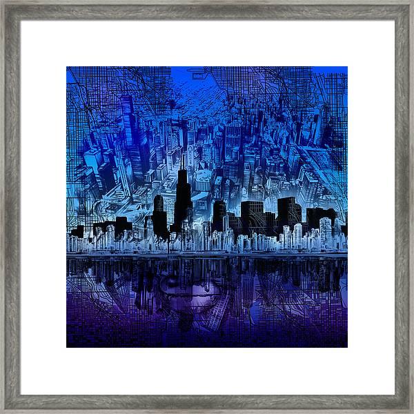 Chicago Skyline Blue Version Framed Print