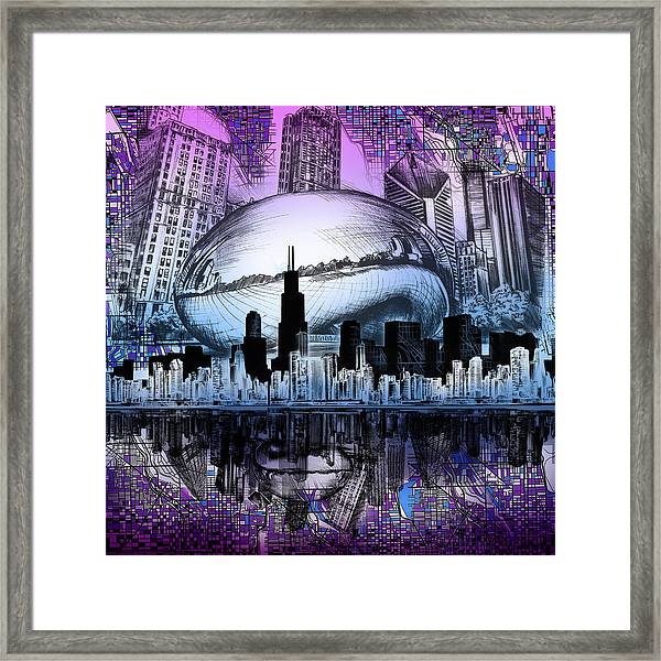 Chicago Skyline Drawing Collage 2 Framed Print