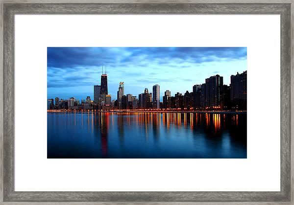 Chicago Skyline Dusk Framed Print