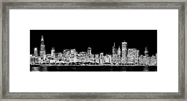 Chicago Skyline Fractal Black And White Framed Print