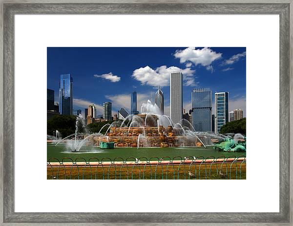 Chicago Skyline Grant Park Fountain Clouds Framed Print