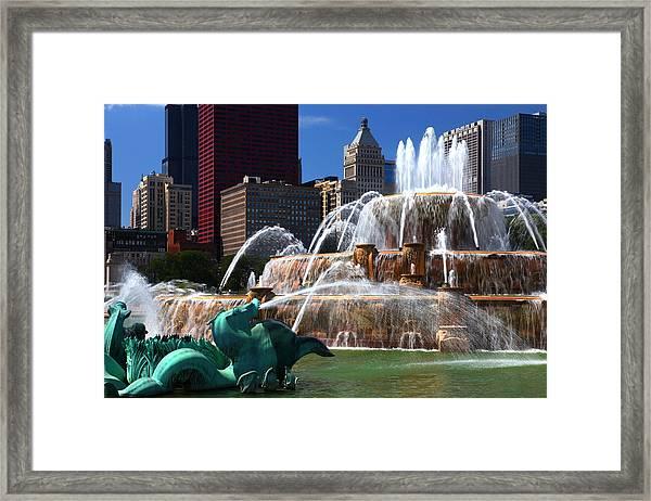 Chicago Skyline Grant Park Fountain Framed Print