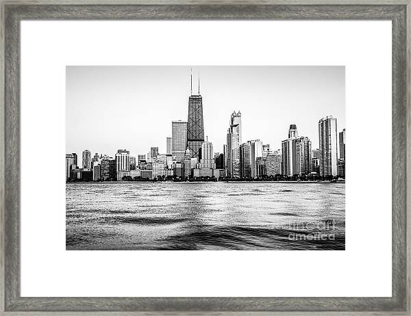 Chicago Skyline Hancock Building Black And White Photo Framed Print
