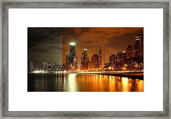 Chicago Skyline Night Amber Framed Print