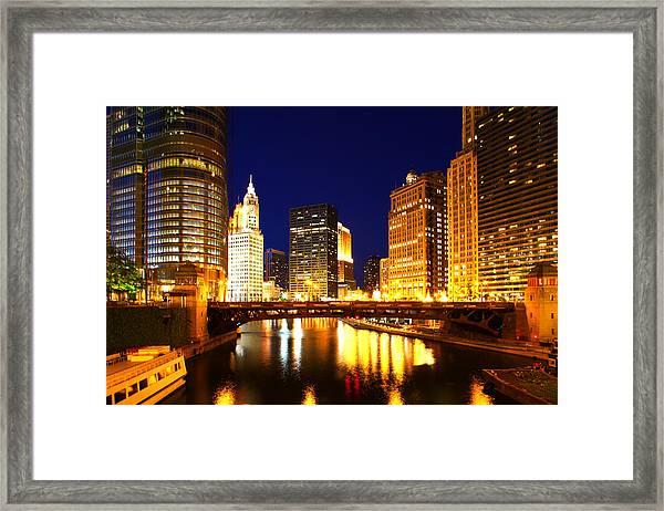 Chicago Skyline Night River Framed Print