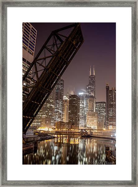 Chicago Skyline Over Chicago River Framed Print by Michael  Bennett