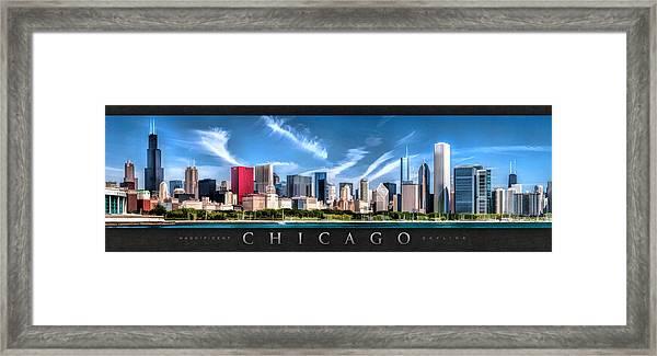 Chicago Skyline Panorama Poster Framed Print