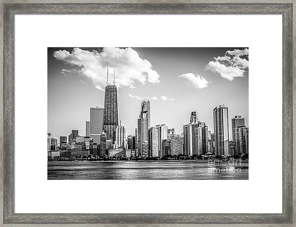 Chicago Skyline Picture In Black And White Framed Print