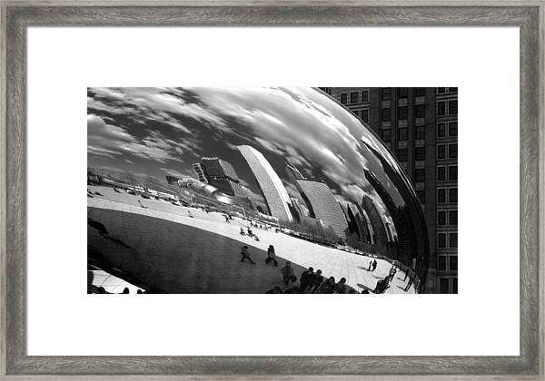 Chicago Skyline Reflected Bean Framed Print