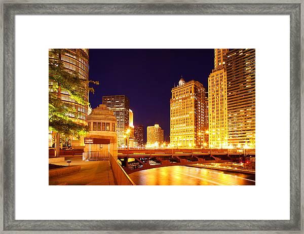 Chicago Skyline River Bridge Night Framed Print