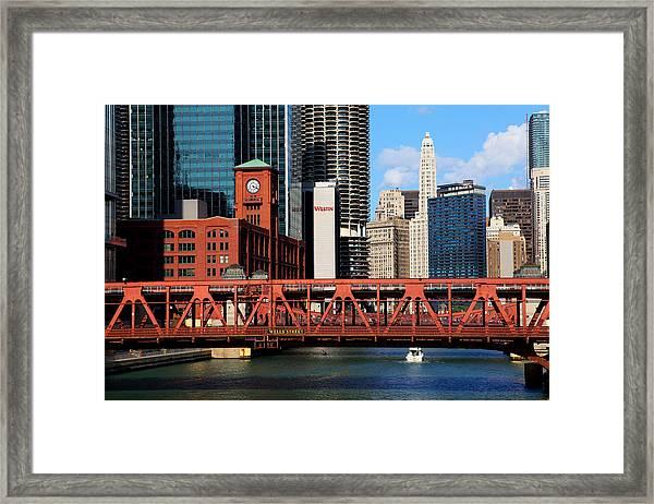 Chicago Skyline River Bridge Framed Print