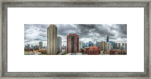 Chicago Skyline - Sears Tower 6 Shot Panorama Framed Print by Michael  Bennett