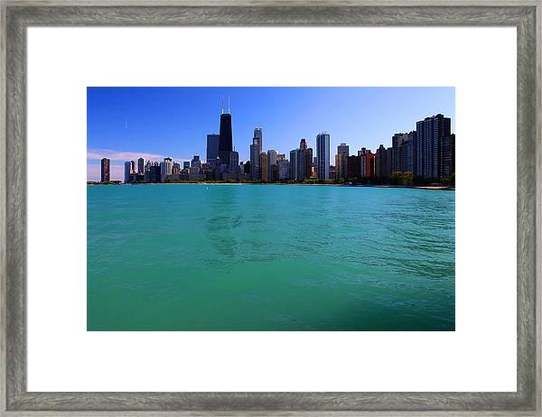 Chicago Skyline Teal Water Framed Print