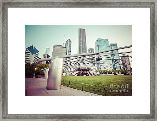 Chicago Skyline With Pritzker Pavilion Vintage Picture Framed Print