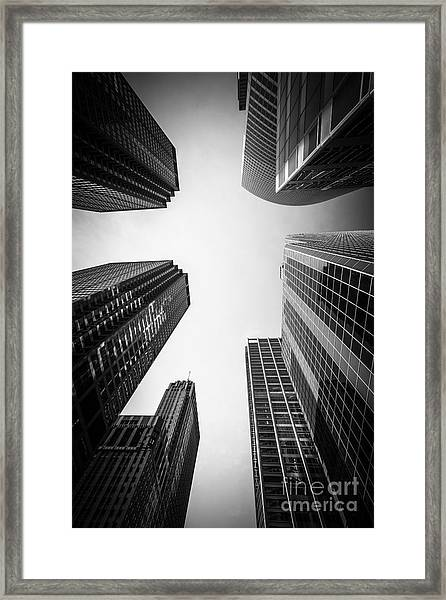 Chicago Skyscrapers In Black And White Framed Print