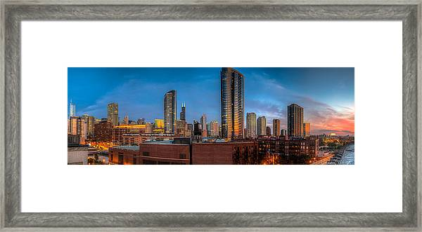 Chicago Sunset Photogtaphy Framed Print by Michael  Bennett