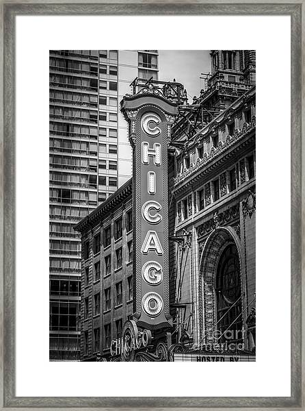 Chicago Theater Sign In Black And White Framed Print
