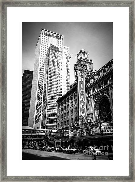 Chicago Theatre Black And White Picture Framed Print