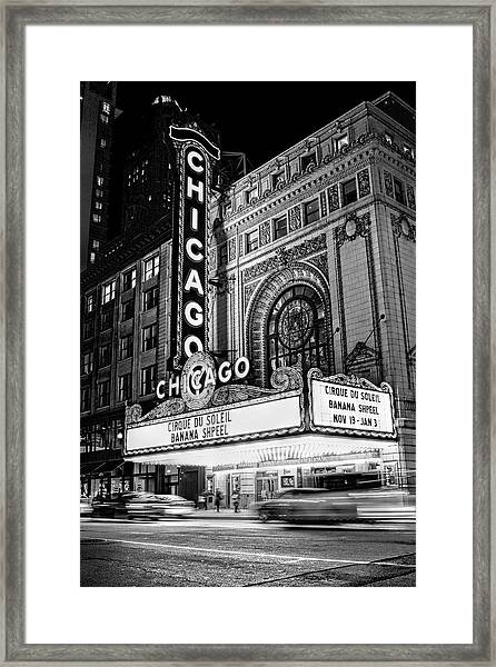 Chicago Theatre Marquee Sign At Night Black And White Framed Print