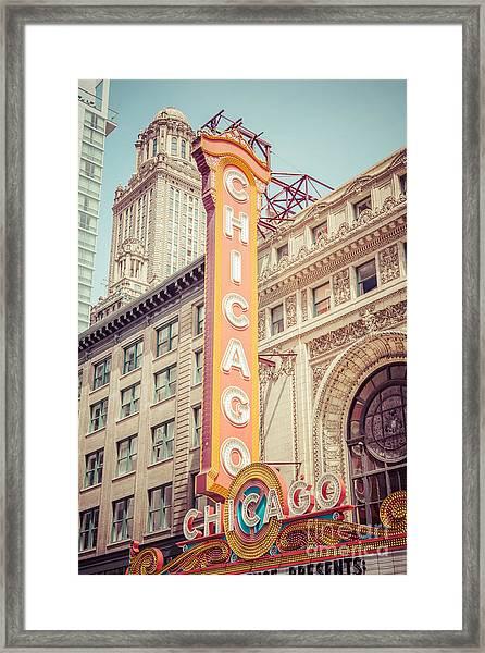 Chicago Theatre Retro Vintage Picture Framed Print