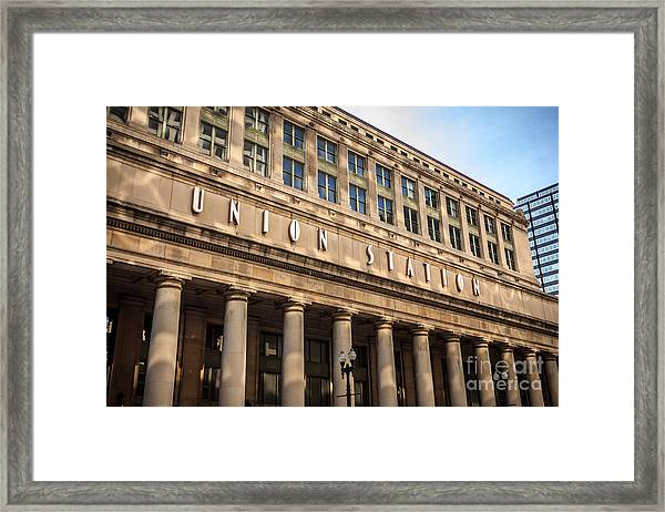 Chicago Union Station Building And Sign Framed Print