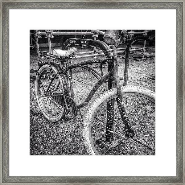 Locked Bike In Downtown Chicago Framed Print by Paul Velgos