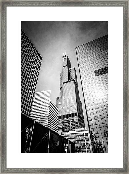 Chicago Willis-sears Tower In Black And White Framed Print