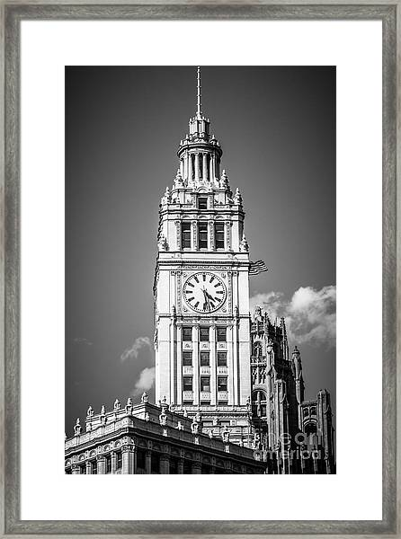 Chicago Wrigley Building Clock Black And White Picture Framed Print