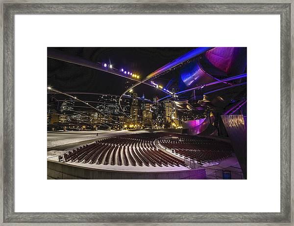 Chicago's Pritzker Pavillion With Colored Lights  Framed Print