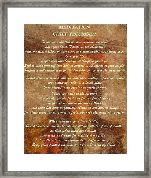Chief Tecumseh Poem Framed Print