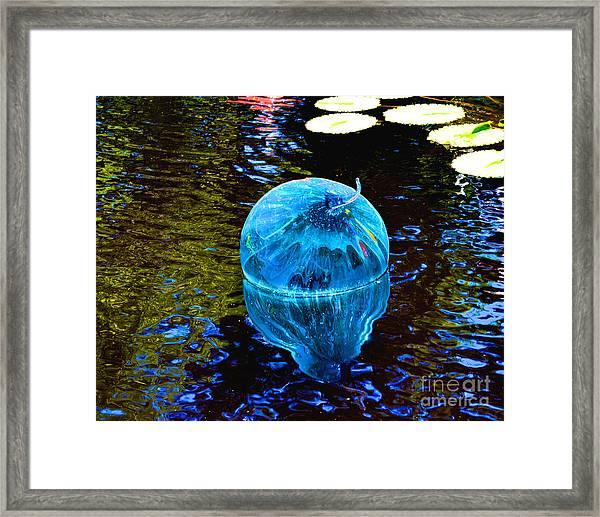 Artsy Blue Glass Float Framed Print