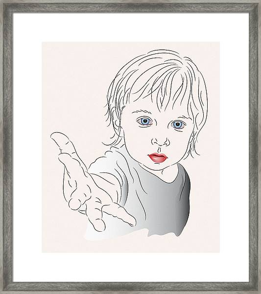 Child With Outstretched Hand Framed Print