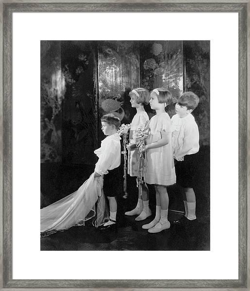 Children In A Wedding Procession Framed Print by Edward Steichen