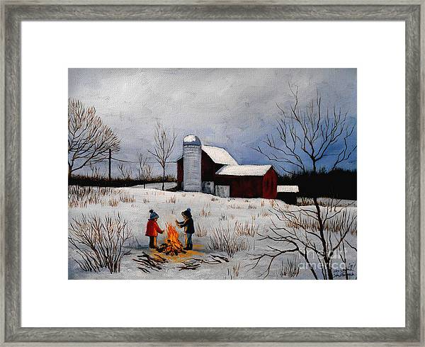 Children Warming Up By The Fire Framed Print