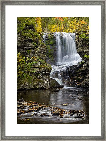 Framed Print featuring the photograph Childs Park Waterfall by Susan Candelario