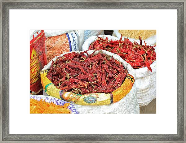 Chili At The Market Framed Print
