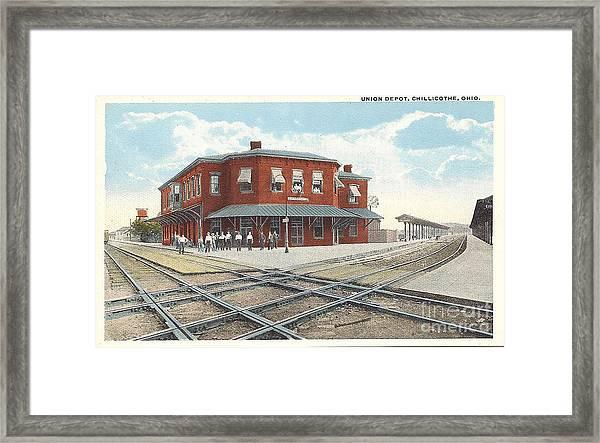 Chillicothe Ohio Railroad Depot Postcard Framed Print