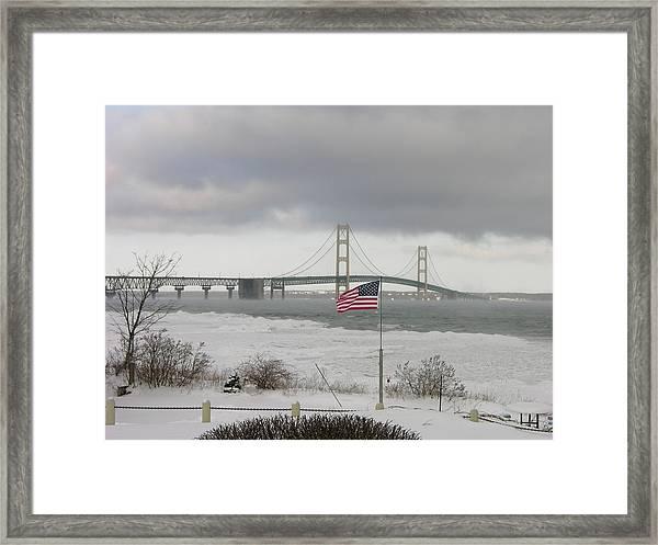 Chilly Mackinac Bridge Framed Print