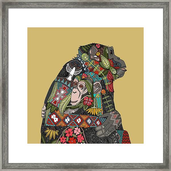 Chimpanzee Love Biscuit Framed Print