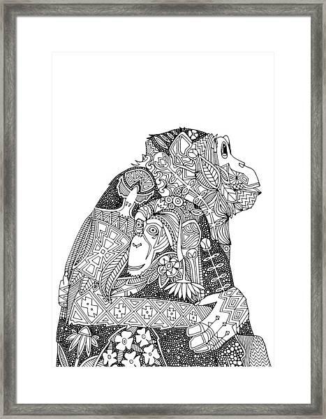 Chimpanzee Love Black White Framed Print