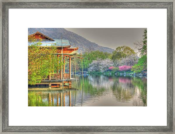 China Lake House Framed Print