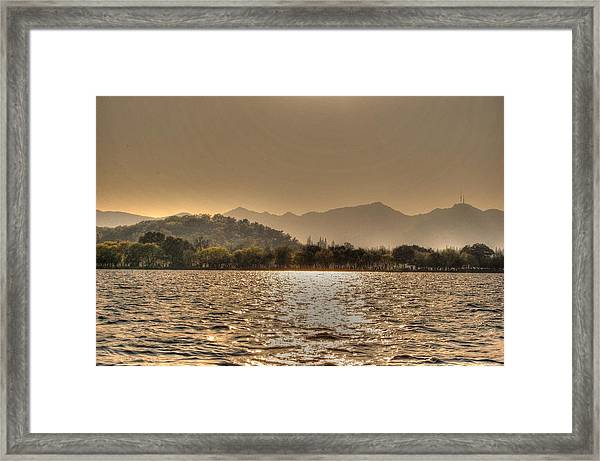 China Lake Sunset Framed Print