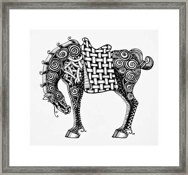 Chinese Horse - Zentangle Framed Print