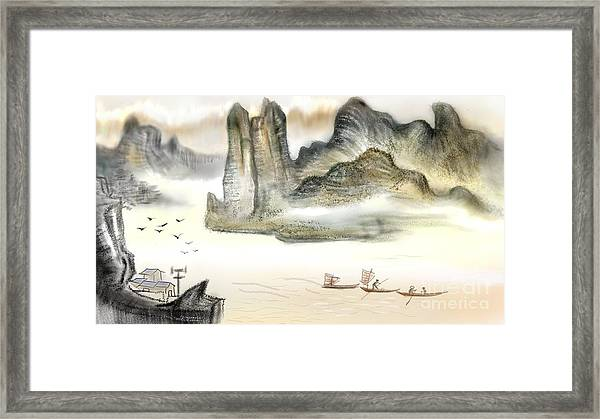 Chinese Painting On Computer Framed Print