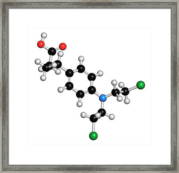 Chlorambucil Leukemia Drug Molecule Framed Print by Molekuul