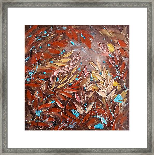 Chocolate And Turquoise Abstract Art Oil Painting By Ekaterina Chernova Framed Print